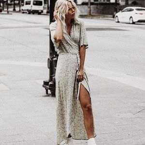 Who What Wear Yellow Floral Wrap Dress S